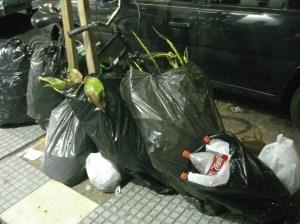 Calle principal de Adrogué, a la noche, residuos sacados para que retire el camión de la basura.