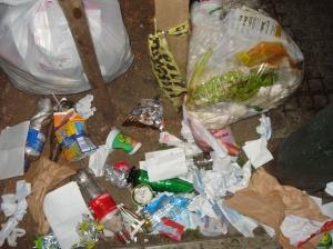 Residuos sobrepasan la capacidad de los tarros de basura en la calle principal de Adrogué.
