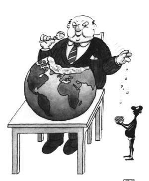 Teoría del derrame capitalista, donde los pobres deberían esperar que al rico se le caiga algo que sirva.