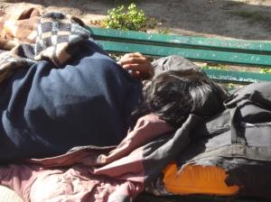 Joven sin techo vive en la plaza, duerme sus noches en un banco cualquiera. ¿Cuál es su futuro promisorio, su esperado porvenir?