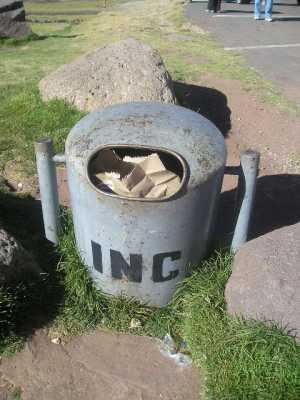 Colector de residuos en reserva arqueológica en Perú, vieje en que sacamos 3.000 fotos sin encontrar papelitos en el piso.