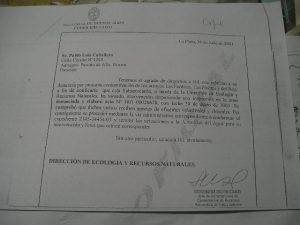 Reconocimiento escueto oficial de la Secretaría de Política Ambiental que ya no funciona, de la contaminación de los ríos y arroyos denunciados con mi firma por FILATINA.