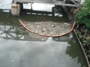 La manguera, pobre, sigue acaparando la basura flotante. Cuanto más hay, más se detiene, pero también más desborda y pasa.