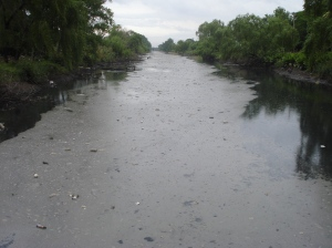 De a ratos todo cubierto, a veces aparece un poco de agua contaminada, entre la mugre flotante como una masa compacta superficial.