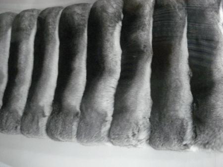 Muestrario de pieles para confeccionar una prenda de chinchilla.