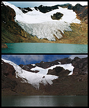 Como claros indicadores del Cambio Climático y del Calentamiento Global, los glaciares muestran su pena, su retroceso su defensa pasiva, su verdad.