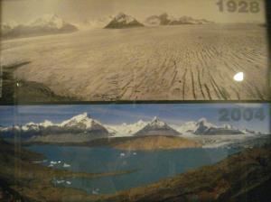 Fotos comparativas de los glaciares con años de diferencia, mostrando el deterioro debido al cambio climático. Les vamos a agregar adrede deterioro debido a las mineras?