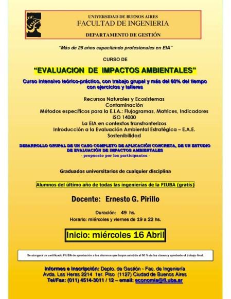 Curso EIA - Evaluación de Impacto Ambiental en la Facultad de Ingeniería UBA en Buenos Aires.