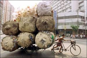 bici reciclado botellas