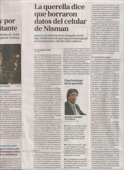 Nisman borran datos La Nación 20-8-2015